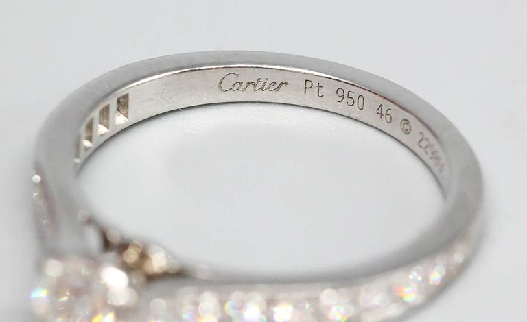 Cartier Diamond Platinum Engagement Ring In Excellent Condition For Sale In New York, NY