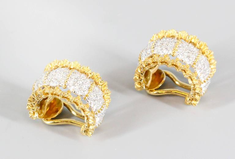 Buccellati Pave Diamond White and Yellow Gold Ear Clips In Excellent Condition For Sale In New York, NY