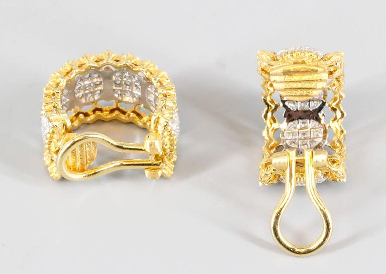Women's Buccellati Pave Diamond White and Yellow Gold Ear Clips For Sale