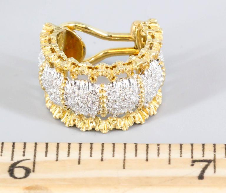 Buccellati Pave Diamond White and Yellow Gold Ear Clips For Sale 1