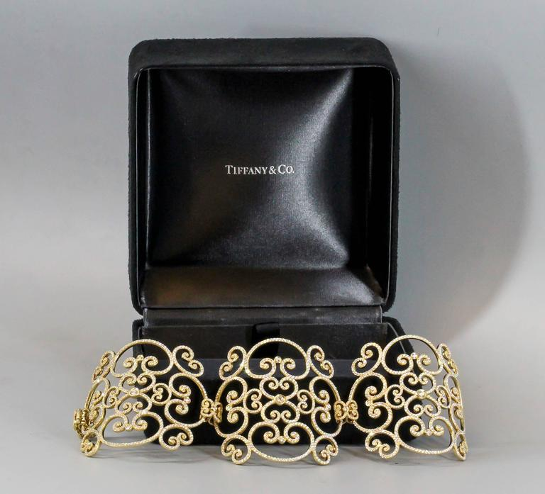 Tiffany & Co. Paloma Picasso Goldoni Diamond Gold Wide Bracelet In Excellent Condition For Sale In New York, NY