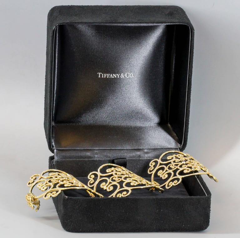 Women's or Men's Tiffany & Co. Paloma Picasso Goldoni Diamond Gold Wide Bracelet For Sale