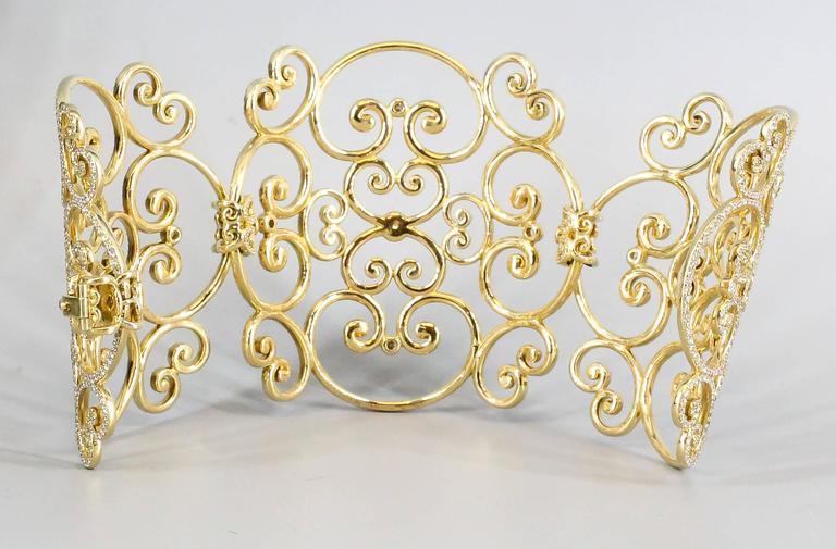 Tiffany & Co. Paloma Picasso Goldoni Diamond Gold Wide Bracelet For Sale 1