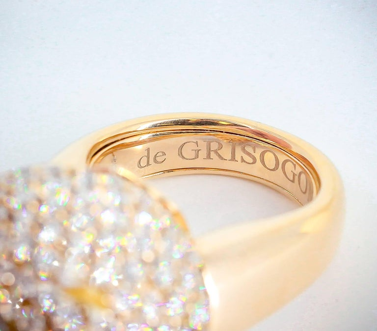 De Grisogono Diamond and Rose Gold Dome Ring 5