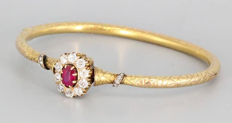 Very Rare Diamond Ruby And 14k Yellow Gold Antique Bangle Bracelet By August Wilhem Holmstrom