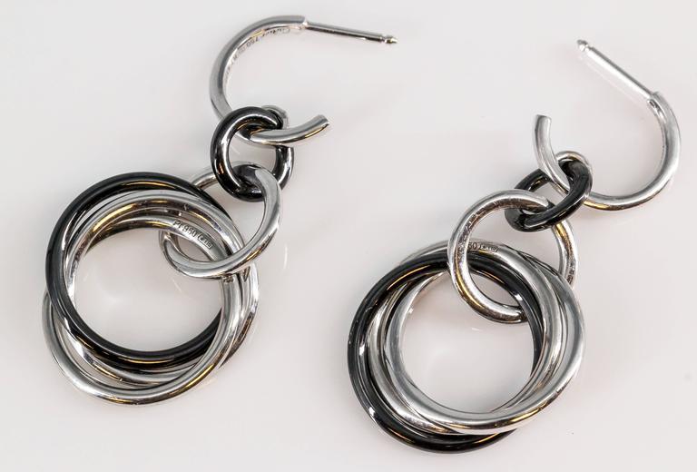 Cartier Trinity Black Ceramic Diamonds White Gold Platinum Earrings For Sale 1
