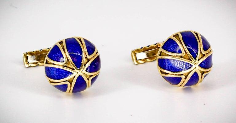 David Webb Blue Enamel Gold Cufflinks 3
