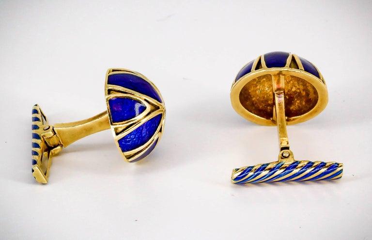 Men's David Webb Blue Enamel Gold Cufflinks For Sale