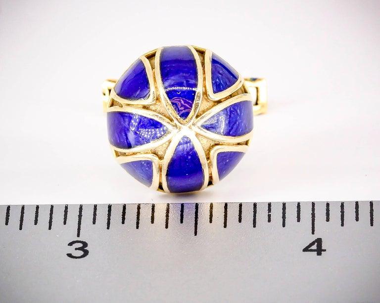 David Webb Blue Enamel Gold Cufflinks For Sale 1