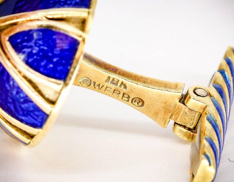 David Webb Blue Enamel Gold Cufflinks For Sale 2