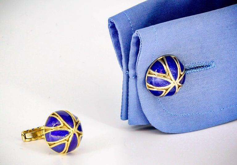 David Webb Blue Enamel Gold Cufflinks For Sale 3