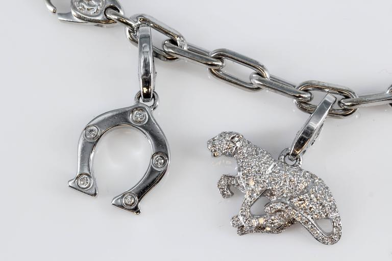 Cartier Diamond White Gold 9 Charm Bracelet 2