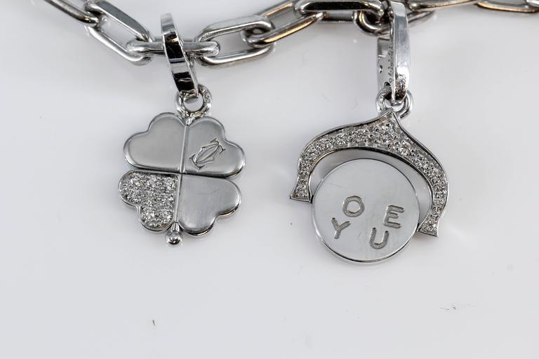Cartier Diamond White Gold 9 Charm Bracelet 3