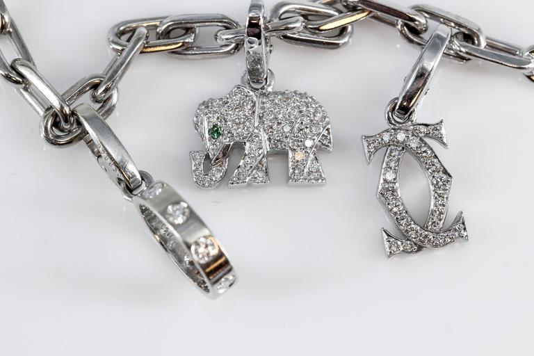 Cartier Diamond White Gold 9 Charm Bracelet 4