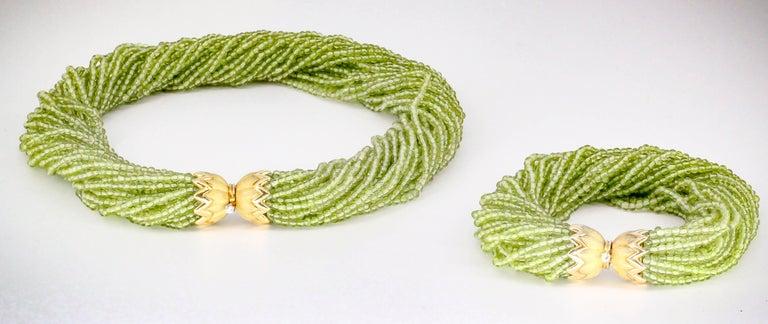 Women's Tiffany & Co. Schlumberger Peridot Diamond Gold Necklace Bracelet Combination For Sale