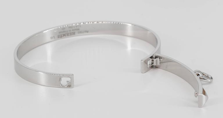 Hermes Collier de Chien White Gold Bangle Bracelet For Sale 1