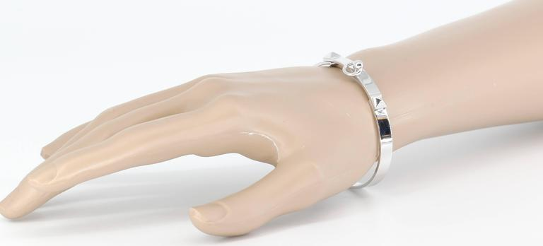 Hermes Collier de Chien White Gold Bangle Bracelet For Sale 3