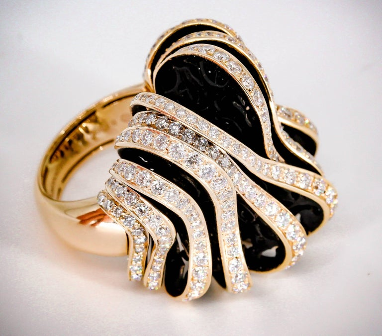 De Grisogono Diamond and Pink Gold Fashion Ring 3