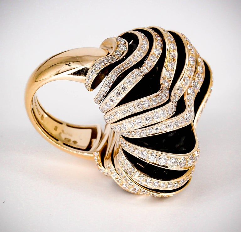 De Grisogono Diamond and Pink Gold Fashion Ring 6