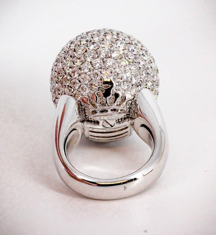 Women's De Grisogono Diamond and White Gold Dome Ring For Sale