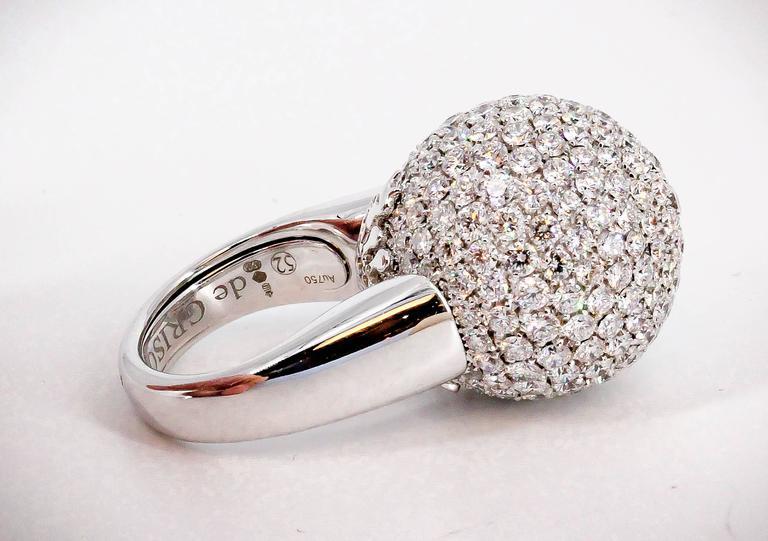 De Grisogono Diamond and White Gold Dome Ring For Sale 1