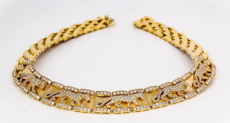 Cartier Panther Diamond and Yellow Gold Necklace For Sale 2