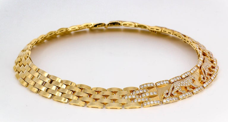 Cartier Panther Diamond and Yellow Gold Necklace In Excellent Condition For Sale In New York, NY