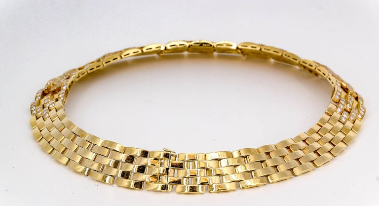 Women's or Men's Cartier Panther Diamond and Yellow Gold Necklace For Sale