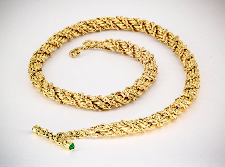 Tiffany & Co. Schlumberger Emerald and Gold Twisted Rope Necklace In Excellent Condition For Sale In New York, NY