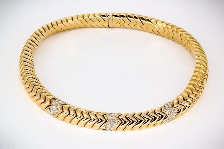 """Elegant diamond and 18K yellow gold necklace from the """"Spiga"""" collection by Bulgari. It features approx. 4.0-4.5cts of high grade round brilliant cut diamonds. Necklace comes in a variety of sizes and we believe this one to be the heaviest"""