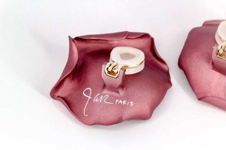 Women's JAR Rose Petal Aluminum and Gold Clip-On Earrings For Sale