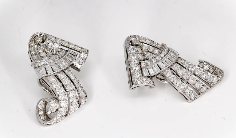 Women's Retro Diamond and Platinum Earring Clips For Sale