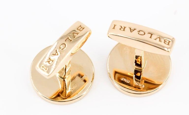 Men's Bulgari Onyx and 18 Karat Gold Round Cufflinks For Sale