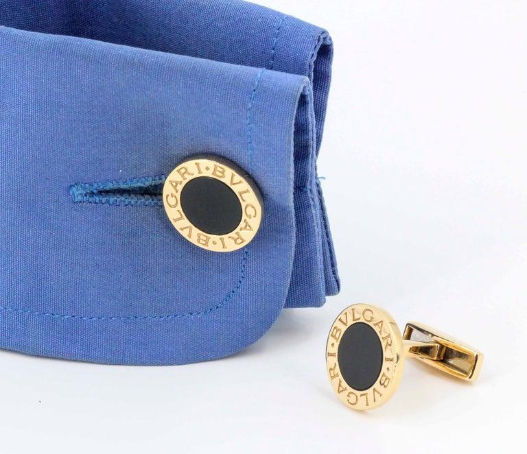 Bulgari Onyx and 18 Karat Gold Round Cufflinks For Sale 2
