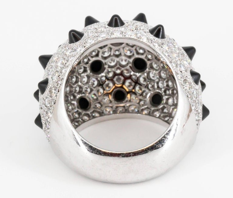 Cartier Onyx Diamond and White Gold Dome Ring In Good Condition For Sale In New York, NY