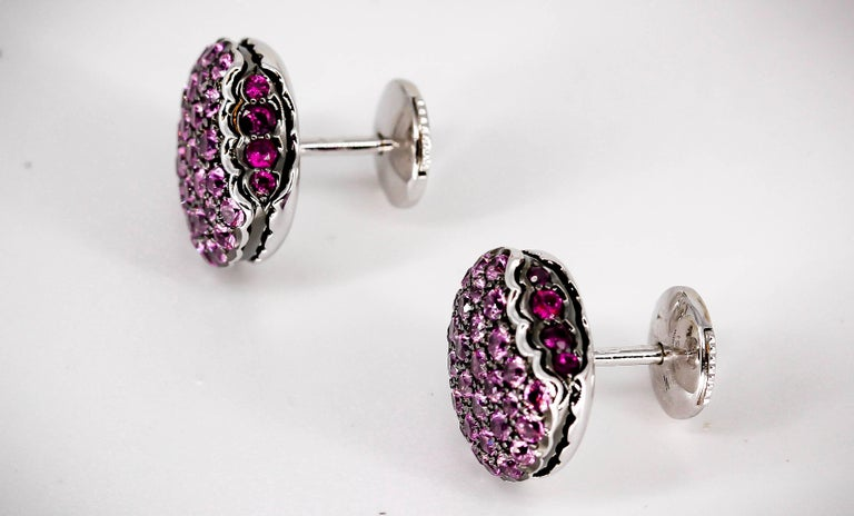 Chic rubies, pink sapphires, and 18K white gold stud earrings from the