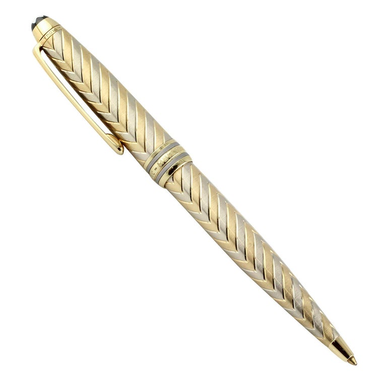 Montblanc Meisterstuck Chevron Solitaire Two-Tone Gold Ballpoint Pen