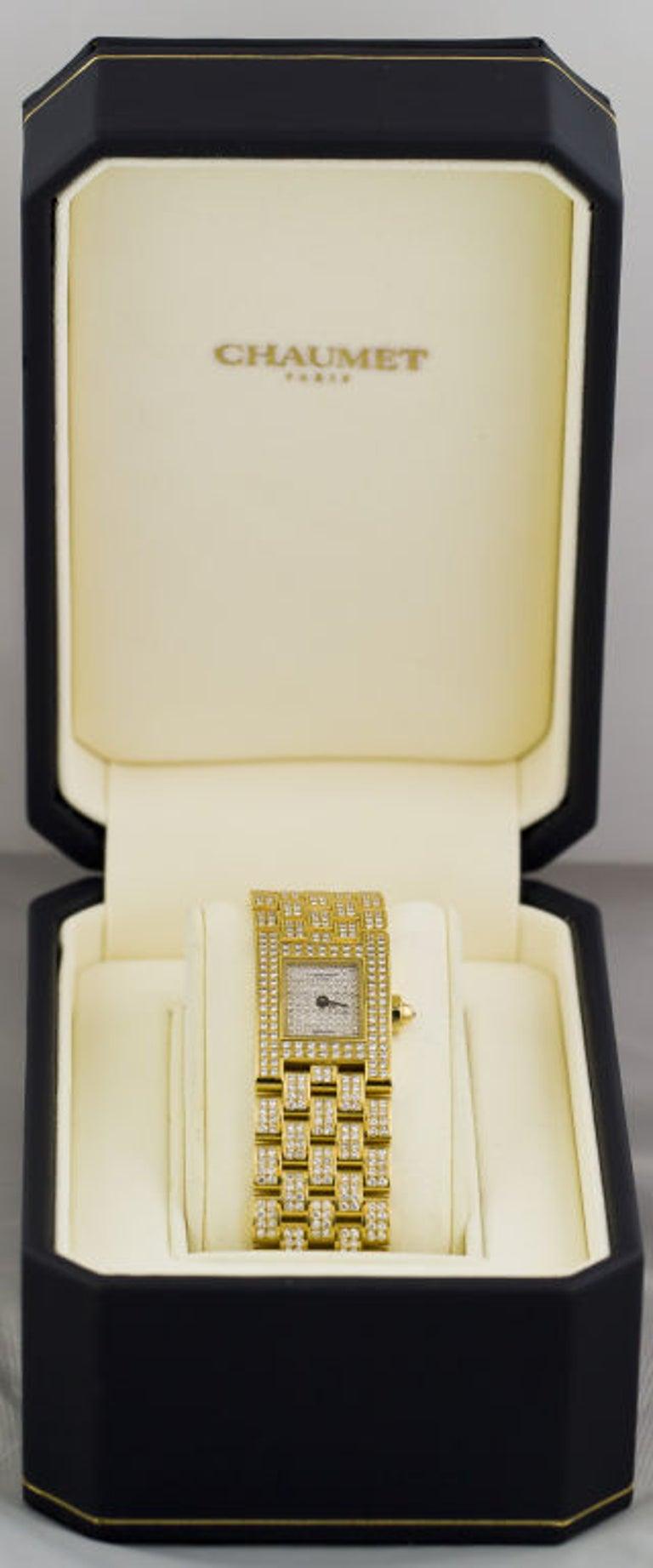 Contemporary Chaumet Ladies Yellow Gold Diamond Quartz Wristwatch For Sale
