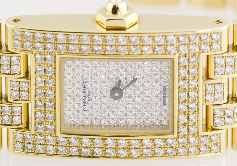 Chaumet Ladies Yellow Gold Diamond Quartz Wristwatch For Sale 3