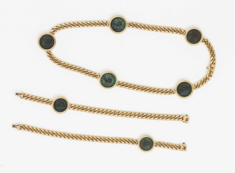 BULGARI MONETE Ancient Coin 18K Yellow Gold Link Necklace Bracelet Combination In Excellent Condition For Sale In New York, NY