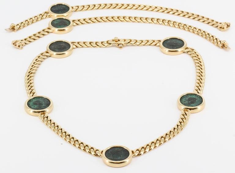 Women's or Men's BULGARI MONETE Ancient Coin 18K Yellow Gold Link Necklace Bracelet Combination For Sale