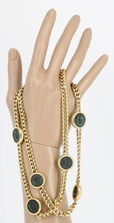 BULGARI MONETE Ancient Coin 18K Yellow Gold Link Necklace Bracelet Combination For Sale 3