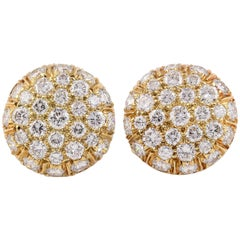 Harry Winston Diamond and Gold Button Earrings