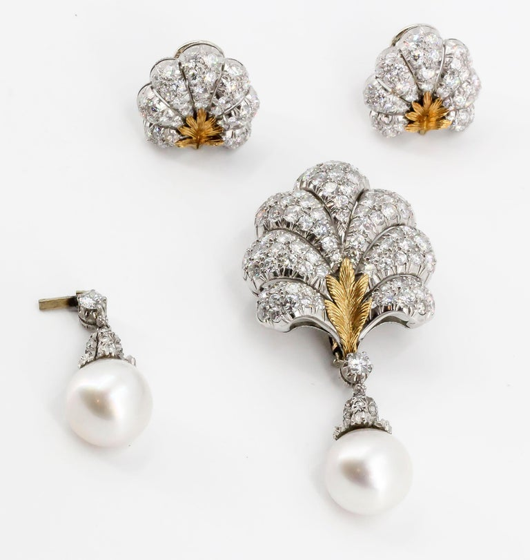 BUCCELLATI Diamond Pearl Platinum 18k Gold Day Night Earrings and Brooch Set For Sale 2