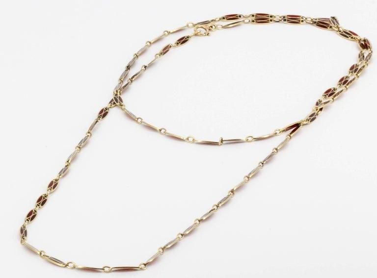 Women's Victorian Plique-à-Jour Enamel and Gold Long Link Chain Necklace For Sale