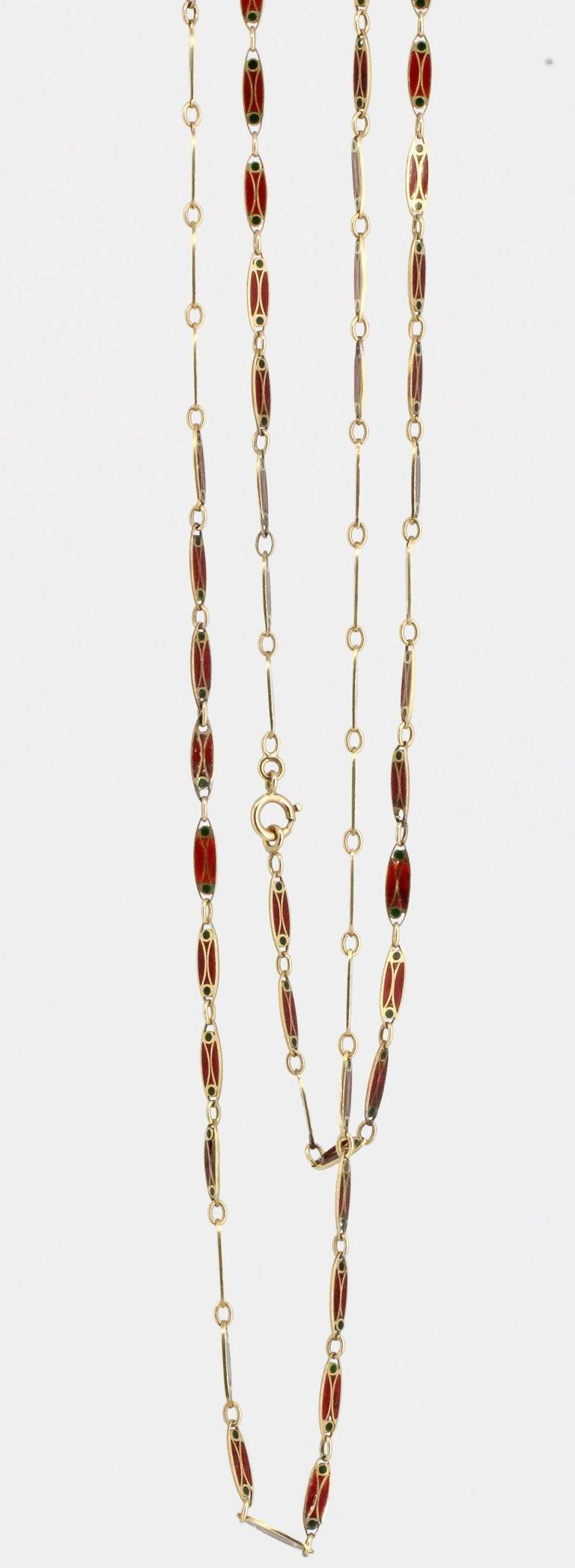 Victorian Plique-à-Jour Enamel and Gold Long Link Chain Necklace For Sale 1