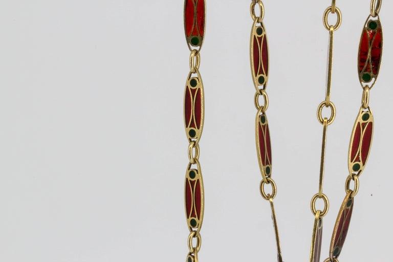 Victorian Plique-à-Jour Enamel and Gold Long Link Chain Necklace For Sale 2