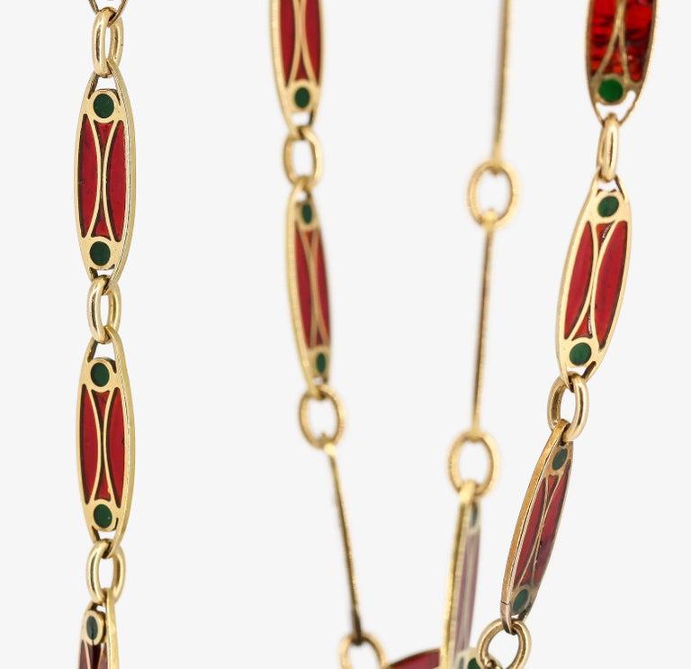 Victorian Plique-à-Jour Enamel and Gold Long Link Chain Necklace For Sale 3