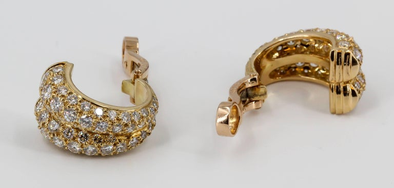 Cartier Diamond and Gold Double Hoop Earrings In Excellent Condition For Sale In New York, NY