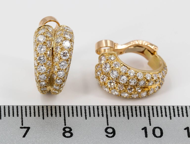 Cartier Diamond and Gold Double Hoop Earrings For Sale 1